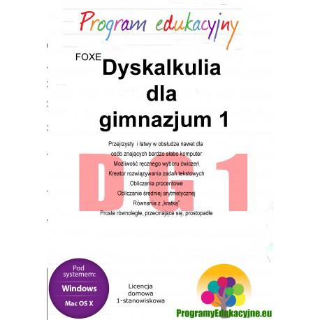 Dyskalkulia dla gimnazjum 1 lic. domowa, 1-stanowiskowa