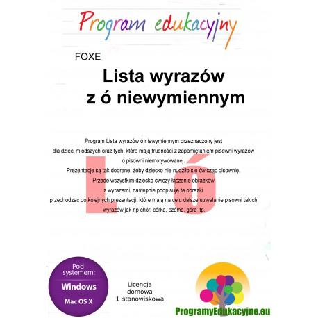 Lista wyrazów z ó niewymiennym lic. domowa