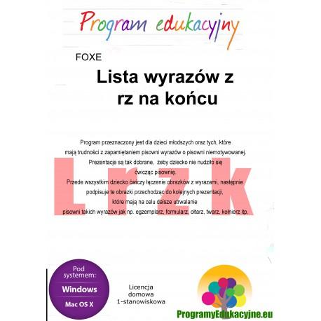 Lista wyrazów z rz na końcu lic. domowa